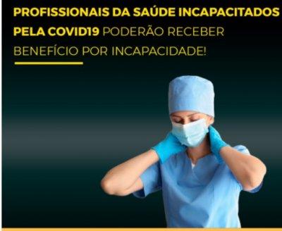Profissionais da saúde incapacitados pela COVID-19, terão direito a indenização.